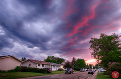 The spectacle is almost over.. (Kasia Sokulska (KasiaBasic)) Tags: fujix canada alberta edmonton sky weather sunset clouds storm residential street