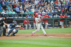 Freddy Galvis squares one up (hj_west) Tags: baseball philadelphiaphillies seattlemariners safecofield mlb interleague stadium night sports