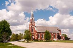 Immaculate Conception Catholic Church (nikons4me) Tags: immaculateconceptioncatholicchurch church haverhill ia iowa nikond300 sigmaaf1850mmf3556dc gothicdesign redbrick whitestone clouds