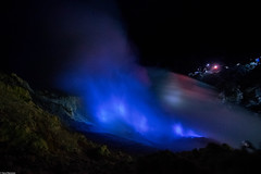 Blue flames of Ijen (Vagabundina) Tags: crater volcano sulfur blue flame fire night longexposure scenery adventure nature landscape wild indonesia java lava mine ijen asia southeastasia travel ambience atmosphere nikon nikond5300 dsrl
