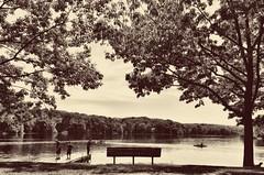 a day at the lake... (HSS) (BillsExplorations) Tags: park statepark morrisonrockwood fishing kayaking hiking lake lakecarlton camping water trees landscape bench sepia slide sliderssunday hss memorialday