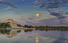 Strawberry Moon setting at the Tidal Basin this morning (D. Scott McLeod) Tags: strawberrymoon tidalbasin jeffersonmemorial washingtondc dc districtofcolumbia dawn reflection panorama colorfulsky dscottmcleod scottmcleod