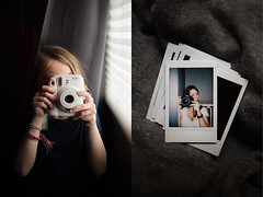 142| 365 (trois petits oiseaux) Tags: 365 kids photography childhood mother daughter instax selfportrait diptych