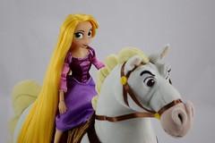 Adventure Rapunzel with Plush Maximus - Tangled: The Series - Disney Store Purchases - Rapunzel Riding Maximus - Midrange Left Front View (drj1828) Tags: us disneystore tangled tangledtheseries doll 2017 purchase posable adventure 10inch 2d deboxed maximus horse plush 15inch
