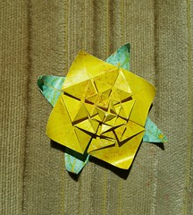 Andrea's Rose with Leaves, curled petals (Aneta_a) Tags: origami fractal jcnolan andreasrose duopaper flower green yellow