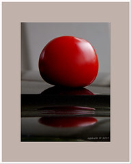 Red and black. (agphoto100) Tags: red black round sphere metal kodak z1015is raw tomato closeup still life