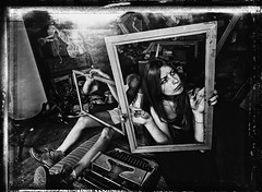 An attempt to order chaos (vetlife2005) Tags: an attempt order chaos anattempttoorderchaos blackandwhite creative portrait women beauty bizarre odd crowdy place interior indoor expression frames