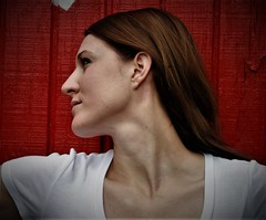 Side Profile Portrait Re-Edit (PhotoAmateur1) Tags: white shirt top chest clavicles shoulders neck throat head face side angle profile portrait ear nose pink lips eye long brown hair red wall background autumn photo session shoot model woman lovely gorgeous pretty famale femme feminine petite beautiful beauty sculpture vein jugular artery muscles hollow turned young lady