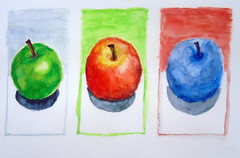 Three apples, by Andreas - DSC01103 (Dona Minúcia) Tags: art painting watercolor study paper fruit apple three arte pintura stilllife aquarela três food fruta alimento comida maçã naturezamorta