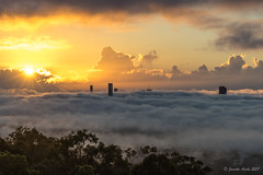 Brisbane foggy sunrise today (NettyA) Tags: australia brisbane mtcoottha mtcootthalookout qld queensland sonya7r buildings clouds flying fog plane sun sunburst sunrise sunstar seaoffog foggymorning weather sonyflickraward