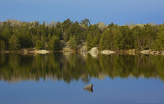 A Lovely Morning (Lindaw9) Tags: lake reflections treeline rock high water northern ontario