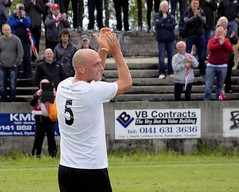 A delighted Jamie Darroch soaks up the applause (Stevie Doogan) Tags: clydebank shettleston mcbookiecom west scotland league superleague first division holm park saturday 20th may 2017 bankies scottish juniors