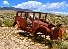 Don't Fence Me In (oybay©) Tags: greatbasinnationalpark nationalpark park lehmancaves ranchersexhibit 1928ford ford car automobile desert middleofnowhere mountain snow jeffdavismountain jeffdavis color colors unique abandoned rusty old vintage bluff nevada texture layer photoshop skeletalmess explore vehicle outdoor america americana antique classiccars colorphotography corroding cow decaying deserted driving junk junkcar junked motorvehicle mountains northamerica oldmodel rural rust rusted rusting skeleton transportation unitedstatesofamerica usa scenic