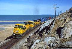 APL Stacker & the Great Salt Lake (jamesbelmont) Tags: locomotive cnw ge c449w emd sd402 lakepoint utah greatsaltlake apl containers lasl apla4d
