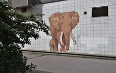 Mother (HBA_JIJO) Tags: streetart urban vitry vitrysurseine animal art france hbajijo wall mur collage pasteup elephant murale paper paris94 mural urbain charactere elephan