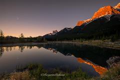 Lovely morning at the lake (Margarita Genkova) Tags: quarrylake reflections mirrorreflections pristinebeauty serenity sunrise gold goldenpeaks grass trees moon canmore calgary alberta