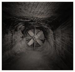 tunnel vision (stevefge) Tags: nijmegen vasim gelderland factory fabriek fan tunnel bw zw blackandwhite decay industry industrial cross blades nederland netherlands nl reflectyourworld abandoned
