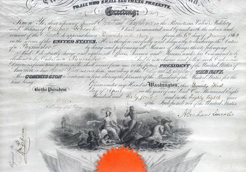1864 President Abraham Lincoln Signed Document ($3,920.00): Appointment of Casper Schenck to Paymaster in the Navy. Dated April 21, 1864. Signed by Abraham Lincoln and Secretary of Navy Gideon Welles.