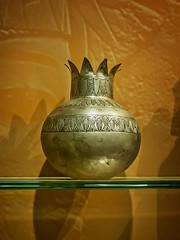 Silver vase depicting a pomegranate New Kingdom 18th Dynasty 1332-1323 BCE (mharrsch) Tags: silver vase pomegranate kingtutankhamun tomb burial funerary newkingdom 18thdynasty 14thcenturybce egypt ancient pharaoh ruler monarch king discoveryofkingtut exhibit newyork mharrsch premierexhibits