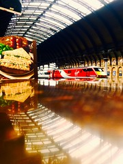 A Cup of Coffee, a Sandwich and You (Explore) (sjpowermac) Tags: coffee sandwich café salmon 1e24 york station reflection aboard 91113 table symmetry trainshed