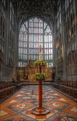 Towards the altar, Gloucester Cathedral (alanhitchcock49) Tags: gloucester cathedral 17 may 2017 visit by redditch u3a digital photography group floor altar hdr decorated