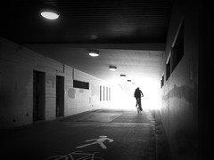 find a way out (René Mollet) Tags: bicycle bike woman blackandwhite street streetphotography silhouette shadow streetart way renémollet solutions