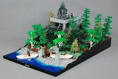 MELO R3: Amon Hen (jsnyder002) Tags: lego moc creation lord of rings amon hen landscape forest castle medieval water melo trees shore ruins beach stairs ground terrain birch pine