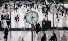 Time marches on (kimbenson45) Tags: appicoftheweek canarywharf docklands business city clocks motion movement multipleexposure people speed time london