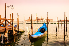 Venetian Gondola - Venice, Italy (EXPLORED) (andrebatz) Tags: gondola gondolas venice venitian san giorgio maggiore italy veneto canal chanel water ocean sunset golden hour blue italia carnival ship church world famous sightseeing landscape outdoors nikon d7100 sigma lens 18 300 mm ngc
