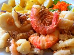 Lightly battered seafood