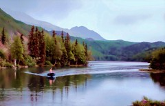 Racing the storm - Alaska (JLS Photography - Alaska) Tags: alaska alaskalandscape america landscape landscapes lake longlake boat water rain forest people jlsphotographyalaska beautifulscenery digitalart watercolor watercolour painting painterly