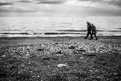 Couple on the beach - Dalkey, Ireland - Black and white street photography (Giuseppe Milo (www.pixael.com)) Tags: streetphotography walking weather beach dalkey people ireland street couple dublin faceless sky blackandwhite sand sea countydublin ie onsale