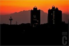 A city sunset (Yaoluca) Tags: sunset milan italy sun yellow buldings palace lights black