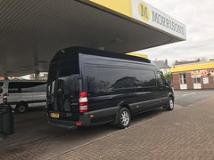 Mercedes Sprinter XLWB 316 (Paul.Bevan) Tags: mercedesbenz dodge sprinter panel van xlwb 316 cdi cavansiteblue superhighroof transport lighthaulage cargo freight ontheroad driving cabview myvan 2017 brabus allaboutvans leds diesel merc industry outdoors streetview uk britishroads sights loads morrisonspetrolstation filling fuel station forecourt canopy wallowslane walsall