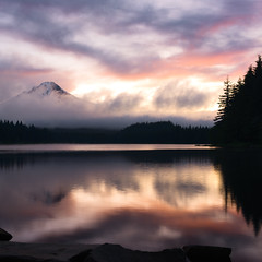 Whispering Mist (Maddog Murph) Tags: sunrise mist misty trillium lake oregon mount hood or trees silhouette reflection fog lfhc clouds cloudy cascade cascades pacific northwest beautiful explore travel create serenity peace peaceful calming still reflect reflections burn