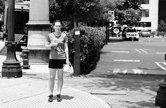 Carbo Loading (burnt dirt) Tags: houston texas downtown city town street sidewalk crosswalk girl man woman people person couple group crowd asian cute sexy smile laugh jeans dress skirt shorts yogapants leggings tights stockings longhair shorthair ponytail heels stilettos boots shadow sunny blonde reflection athlete dog exercise glasses sunglasses purse bag phone cellphone construction traffic lunch office building worker streetphotography documentary portrait fujifilm xt1 bw blackandwhite