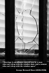 compromised (mitchell haindfield) Tags: window broken glass exterior security bars hole domestic residential apartment quarrel fight marriage relationships compromise men women gettingalong marriagecounseling advice incompatible menarefrommars womenarefromvenus hesaid shesaid quote quotation georgebernardshaw violence frustration differences