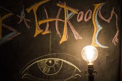 Bathroom (Aaron Allen Rogers Toronto) Tags: low light chalkboard contrast lightbulb chalk night dark shadows colour eye art