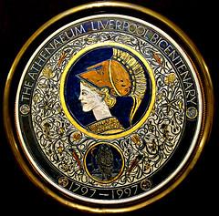 Julia Carter Preston Commemorative Plate - The Atheneum Liverpool Bicentenary 1997 (ronramstew) Tags: liverpool england uk atheneum plate charger commemorative juliacarterpreston lustreware sgraffito pottery ceramics bicentenary 1997