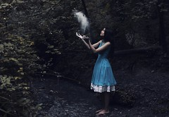 If I had a world on my own, everything would be nonsense (Sus Blanco) Tags: aliceinwonderland conceptual susblancophotography fairytale canon 50mm fineart blue forest