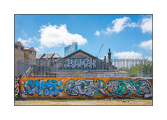Street Art (Oust, Loki, Ments1), East London, England. (Joseph O'Malley64) Tags: oust btk streetartists streetart urbanart publicart freeart graffiti eastlondon eastend london england uk britain british greatbritain art artists artistry artwork murals muralists wallmural wall walls brickwork bricksmortar cement pointing railings securityspikes buddleia victorianbuildings chimneystacks chimneypots blockofflats tvaerial redundanttvaerial officeblock towercrane barbedwire openground urban urbanlandscape aerosol cans spray paint fujix accuracyprecision loki ments ments1