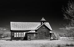 Ash Grove Church (unknown quantity) Tags: trees clouds sky grass horizon corrugatedroof boardedupwindows peelingpaint shadows abandoned neglect weathered monochrome exposedwood hss