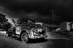 Kansas TowTruck (Tim @ Photovisions) Tags: kansas monochrome blackandwhite towtruck ratrod truck