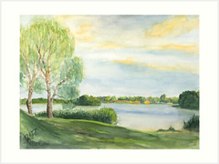 Abend am See (ju-friedrich) Tags: watercolor watercolour aquarell