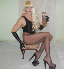Nylon Fever! (queen.catch) Tags: dragqueen crossdresser nylons legs heels sissy femboy tranny shemale ladyboy thong bathing suit gloves pantyhose shinylycra