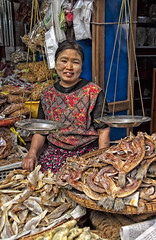 Selling dried fish (bag_lady) Tags: myanmar burma burmese shan market selling trading driedfish shanstate centralmarket