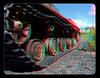 Tank Wheels 3 - Anaglyph 3D (DarkOnus) Tags: pennsylvania buckscounty panasonic lumix dmcfz35 3d stereogram stereography stereo darkonus closeup macro tank wheels kv1 russian wwii world war ii kliment voroshilov anaglyph