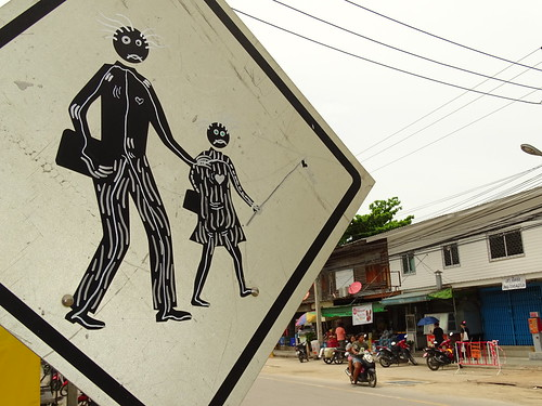 Crossing Sign with Street Scene - Hua Hin - Thailand