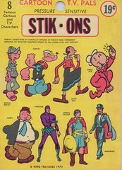 Stik-Ons (1975) (Donald Deveau) Tags: popeye thephantom princevaliant wimpy oliveoyl mandrake sweepea beetlebailey stickers stikons cartoon toys vintagetoy