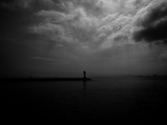 Lighthouse (Bkutlak H.D) Tags: lighthouse sky sea silhouette shadow ship shadows skie creative composition city cloud clouds capture white wb work water black bw blackandwhite bosphorus